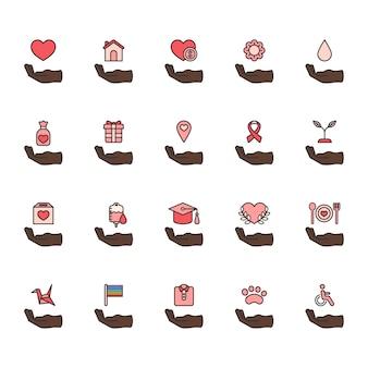Ilustración de conjunto de iconos de ayuda de donación