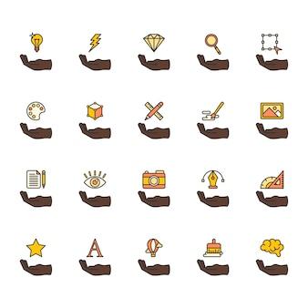 Ilustración de conjunto de iconos de diseño gráfico