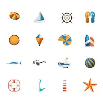 Ilustración de conjunto de iconos de verano