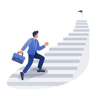 Ilustración de desarrollo de carrera de empresario