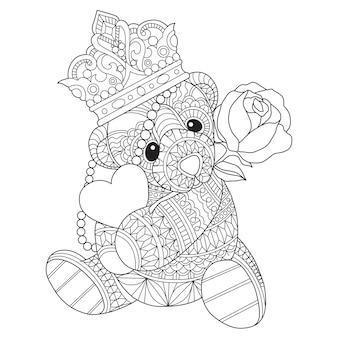 Ilustración de dibujado a mano de oso de peluche abrazando corazón