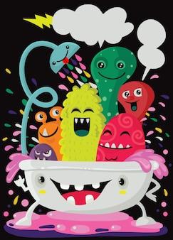 Ilustración de estilo de dibujos animados de monstruos divertidos tomando un baño lleno de espuma de jabón