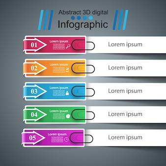 Ilustración de estilo de negocios origami infografía.