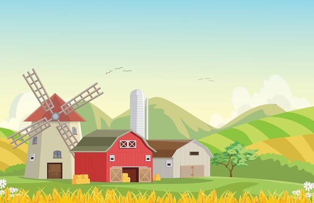 Ilustración de granero de granja de campo de montaña con molino de viento