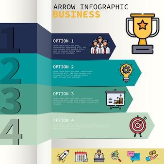 Ilustración de infografías de flecha toturial