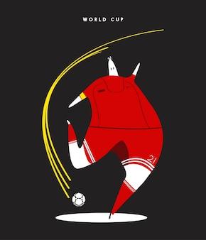 Ilustración de jugador de fútbol de concepto de copa del mundo
