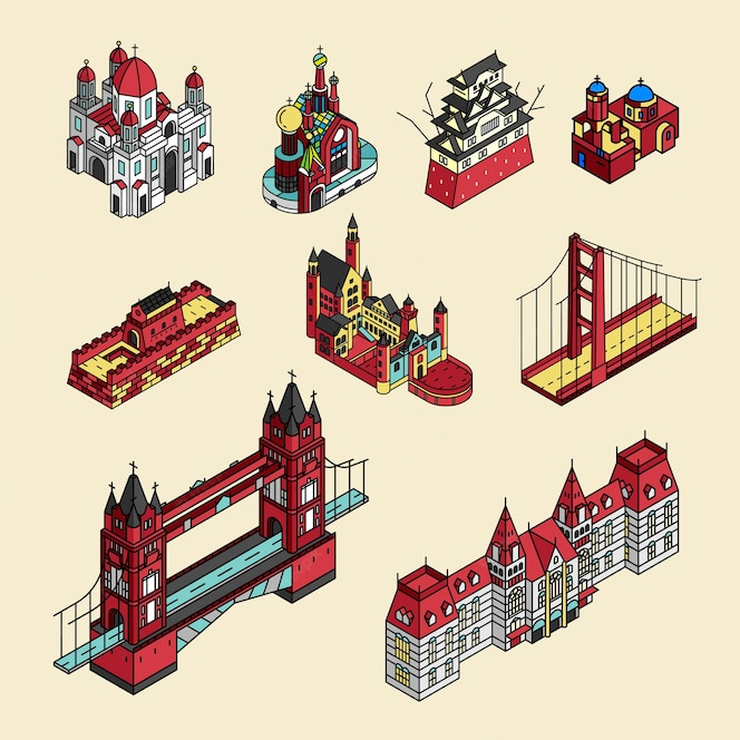 Ilustración de la colección de puntos turísticos mundialmente conocida