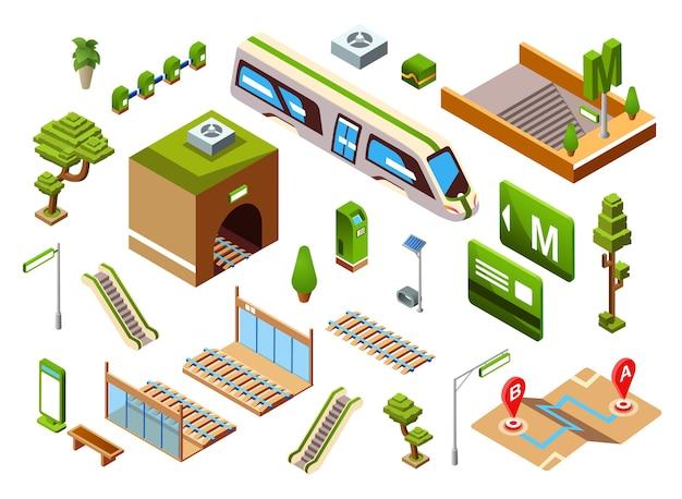 Ilustración de la estación de tren de metro del elemento de transporte ferroviario subterráneo o subterráneo