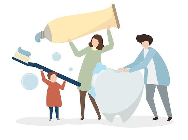Ilustración de la familia con kit dental