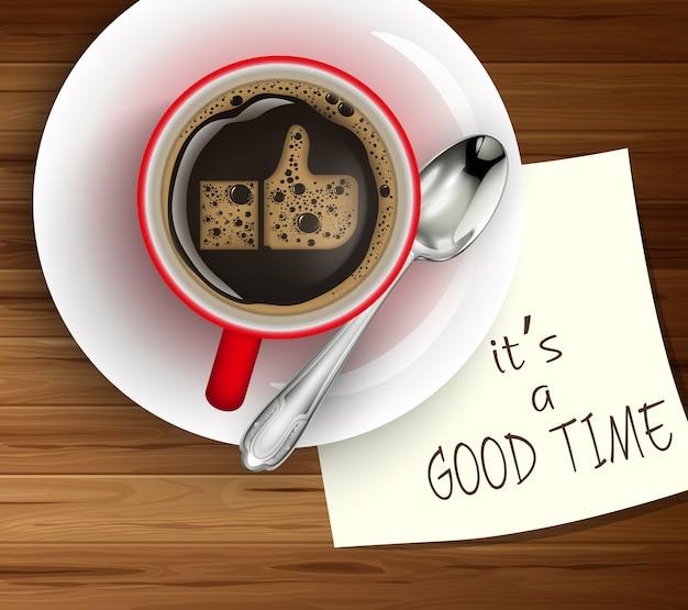 Ilustración de la taza de café en papel blanco de mesa de madera