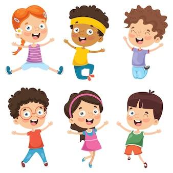 Ilustración de los niños de dibujos animados
