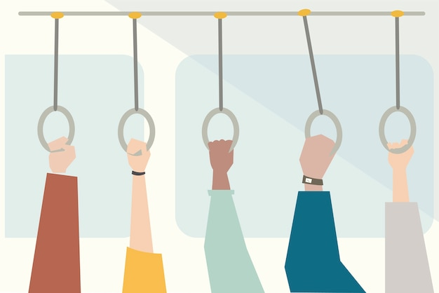 Ilustración de manos sosteniendo el mango del autobús