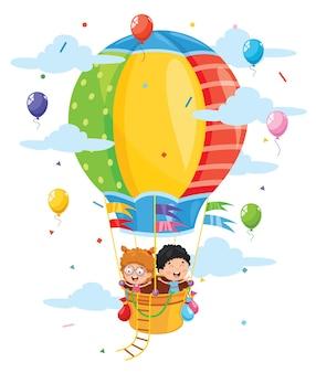 Ilustración de niños montando globo de aire caliente
