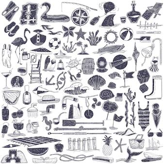 Ilustración de objetos de verano y playa