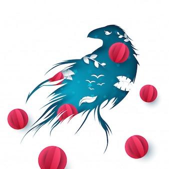 Ilustración de papel de cuervo