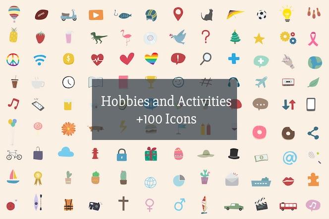 Ilustración de pasatiempos y actividades humanas