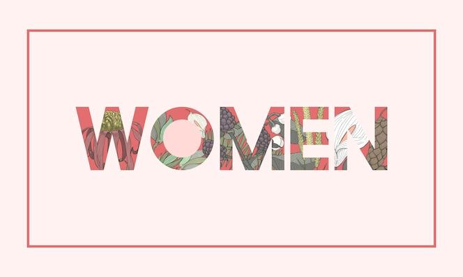 Ilustración de patrón de flor botánica de palabra de mujer