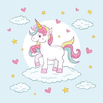 Ilustración de personaje lindo colorido unicornio
