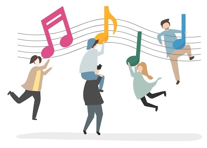 Ilustración de personajes y notas musicales