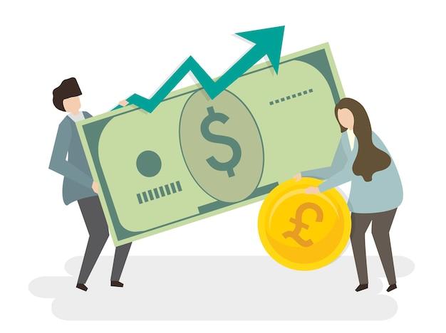 Ilustración de personas con dinero