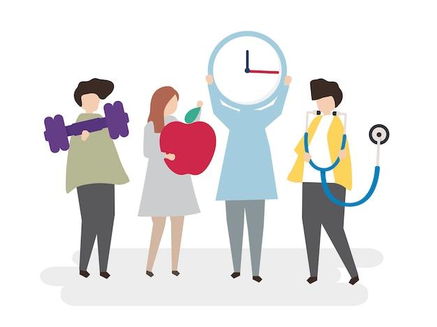 Ilustración de personas con estilo de vida saludable