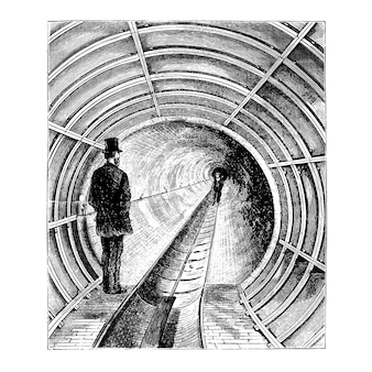 Ilustración de túnel vintage