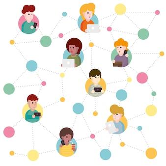 Ilustración de un esquema abstracto de red social