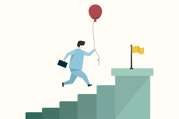 Ilustración de un hombre de negocios llegando a un objetivo