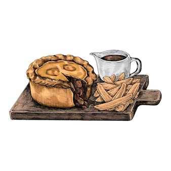 Ilustración de un pastel de carne