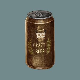 Ilustración de una lata de cerveza artesanal