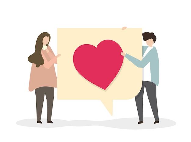 Ilustración de una pareja encantadora junto
