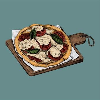Ilustración de una pizza italiana