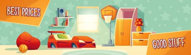 Ilustración de vector de anuncio de muebles de sala de niños