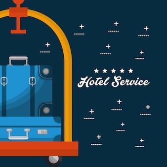 Ilustración de vector de carro de equipaje de servicio de edificio de hotel