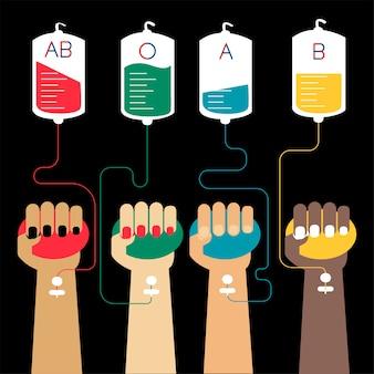 Ilustración de vector de concepto de transfusión de sangre