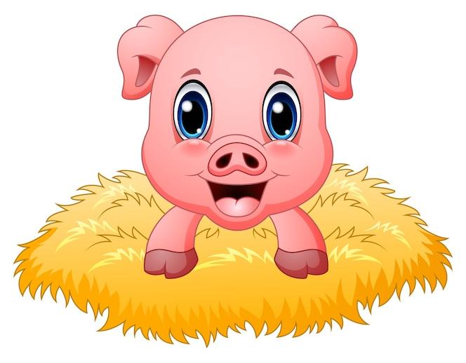 Ilustración de vector de dibujos animados de cerdo lindo en el nido