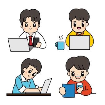 Ilustración de vector de empresario de dibujos animados.