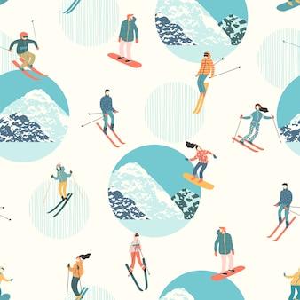 Ilustración de vector de esquiadores y snowboarders. patrón sin costuras