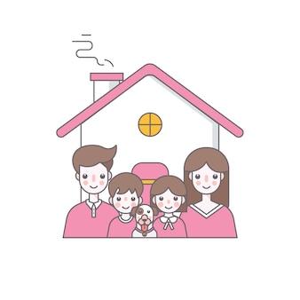 Ilustración de vector de familia feliz personaje