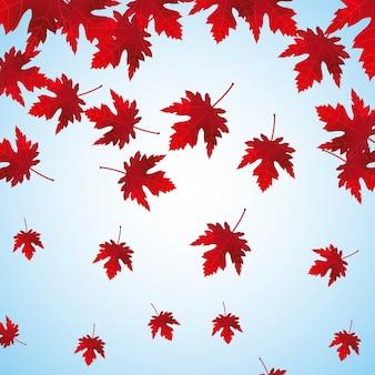 Ilustración de vector de fondo de hojas de arce rojo cayendo