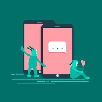 Ilustración de vector de internet de tecnología de medios sociales