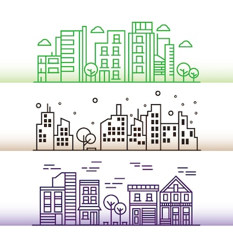 Ilustración de vector diseño de la ciudad en estilo de línea