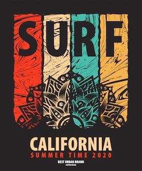 Ilustración de vector sobre el tema de surf jinete