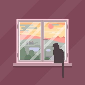 Ilustración de vista de ventana de escena de puesta del sol grasa
