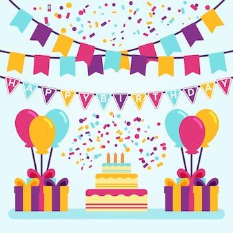 Ilustración de decoración de cumpleaños