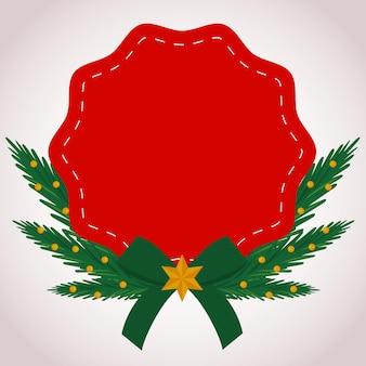 Ilustración de decoración de encaje rojo feliz feliz navidad