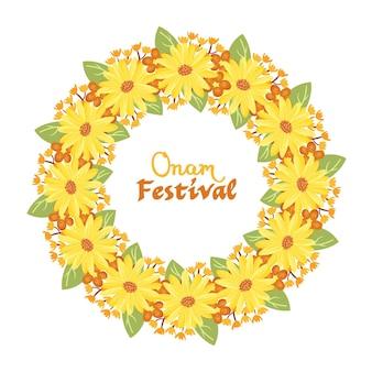 Ilustración de decoración floral onam dibujado a mano