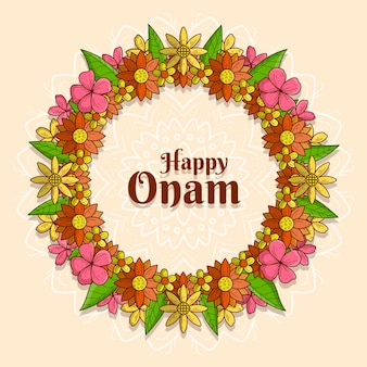 Ilustración de decoración floral onam