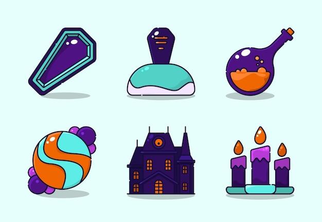 Ilustración de la decoración de halloween. incluyendo ataúd, tumba, poción, dulces, casa embrujada, vela.