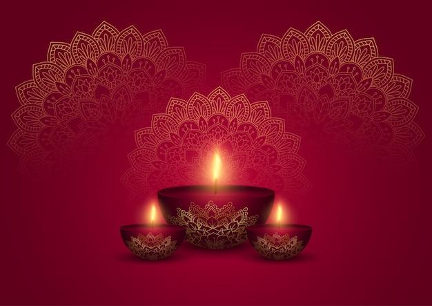Ilustración decorativa de diwali en oro y rojo.